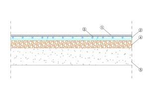 Soluzione tecnica Massetto radiante in Betonradiant su granulato in sughero biondoSoluzione tecnica Massetto radiante in Betonradiant su granulato in sughero biondo