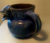 006 Squat mottled blue glazed fish jug 2