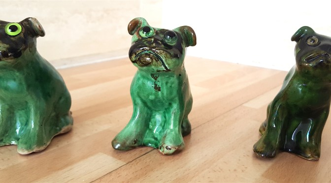 A trio of Baron green glazed dogs with glass eyes – #barnstaple #ndevon #baronpottery #dogs #ceramics