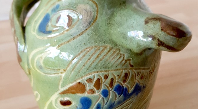 W.L. Baron, Barnstaple – A baluster shaped vase incised with fish and shells #barnstaple #pottery #ndevon