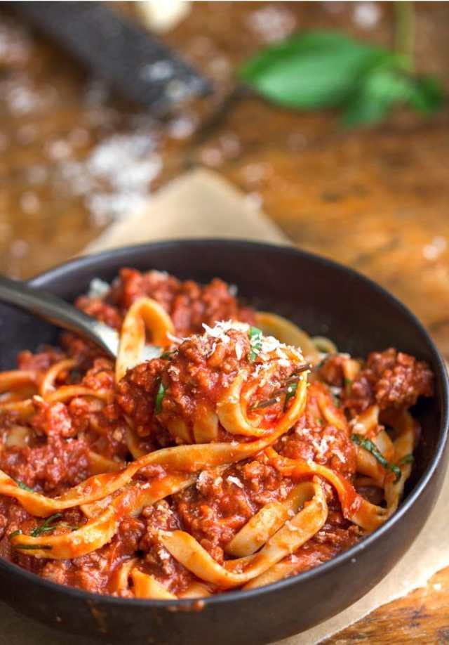 A Bowl Of Turkey Ragu With Spaghetti