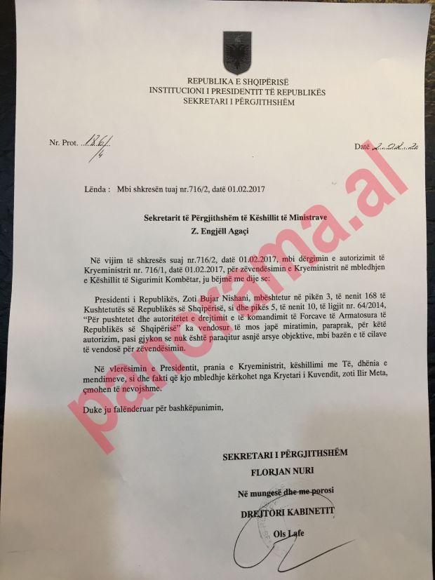 Letra e sekretarit te pergjithshem te Presidences per sekretarin e pergjithshem te Kryeministrise