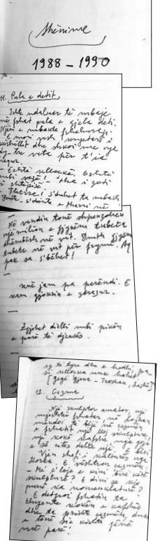Faksimile të shënimeve të mbajtura nga Dritëro Agolli, gjatë viteve 1988-1990