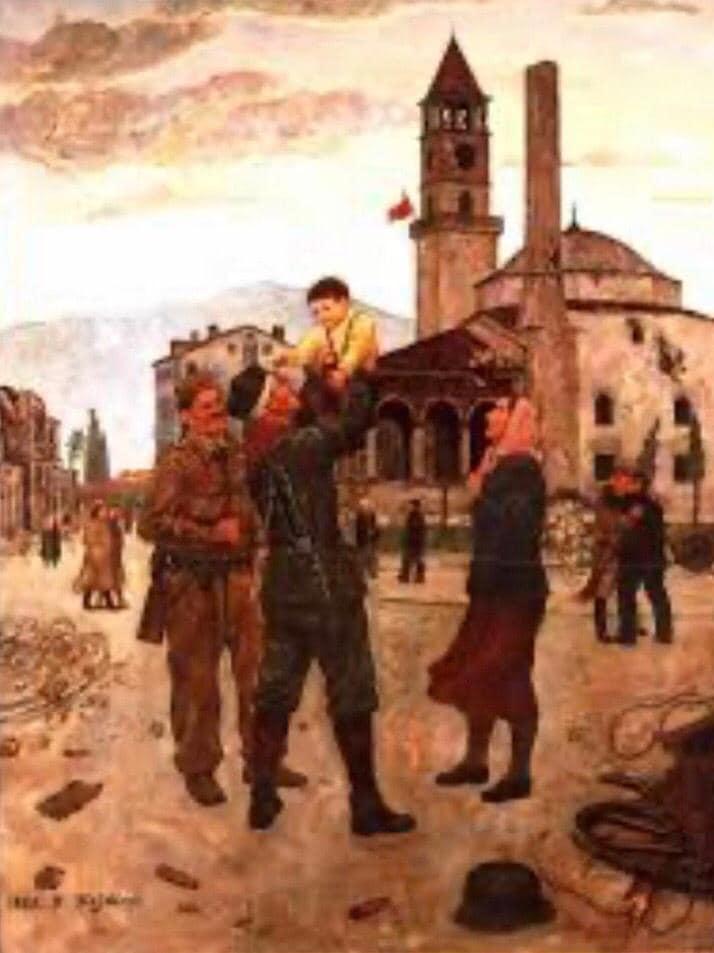 """Pikturë e të mirënjohurit Bukurosh Sejdini """"Agimi i 17 nëntorit 1944"""""""