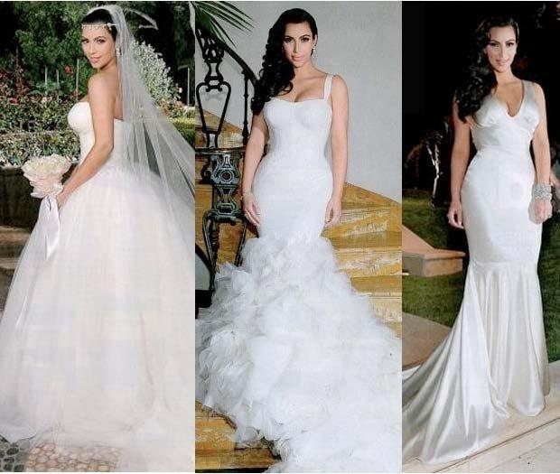 Kim Kardashian nei suoi abiti da sposa curvy