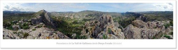 Fotografía panorámica de la Vall de Gallinera desde la Penya Forada