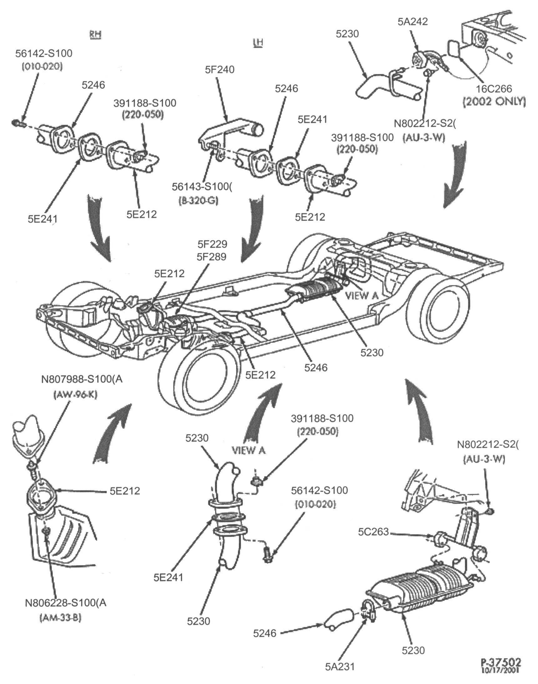Below are some parts diagrams for original equipment ford exhaust system service parts that can be purchased at your local ford dealer