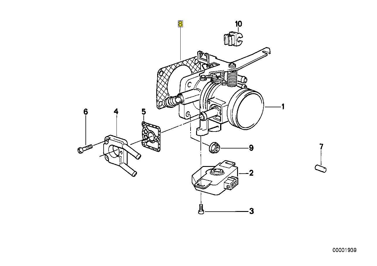 Bmw M20 B20 B27 Engine Throttle Body Seal Gasket