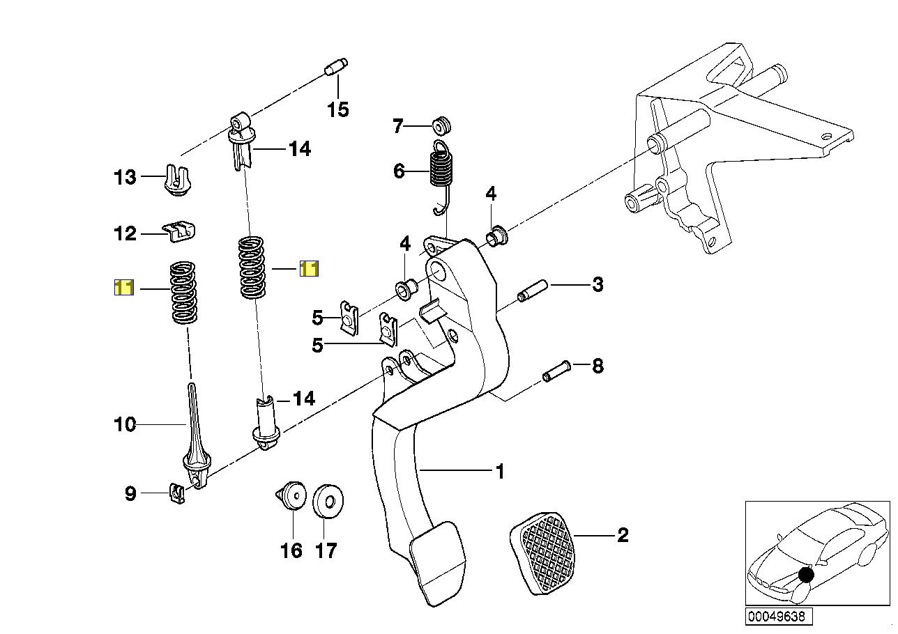 Bmw E36 M3 Z3 M Clutch Pedal Return Coil Spring