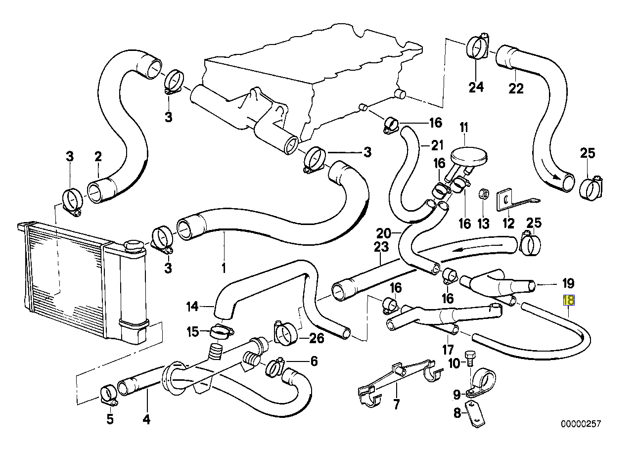 Bmw E30 318is M42 Engine Coolant Pipe Line Tube