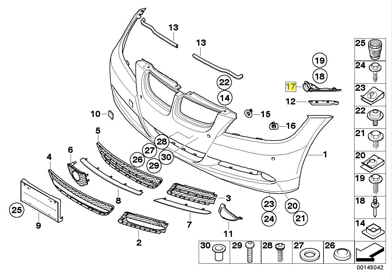 Bmw E90 E91 Front Right Bumper Mounting Bracket