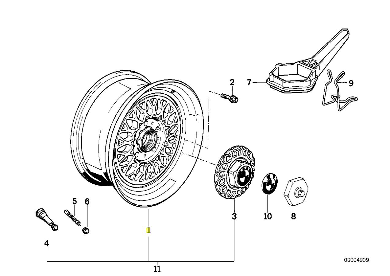 Bmw Series 5 E34 Bbs Cross Spoke Alloy Wheel