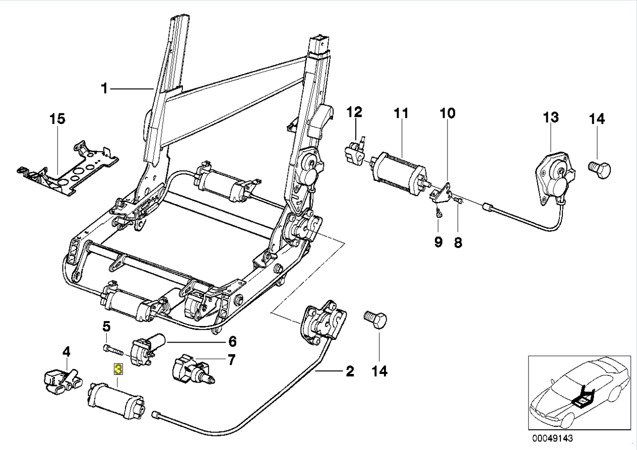 Bmw Series 8 E31 Seat Backrest Drive Motor
