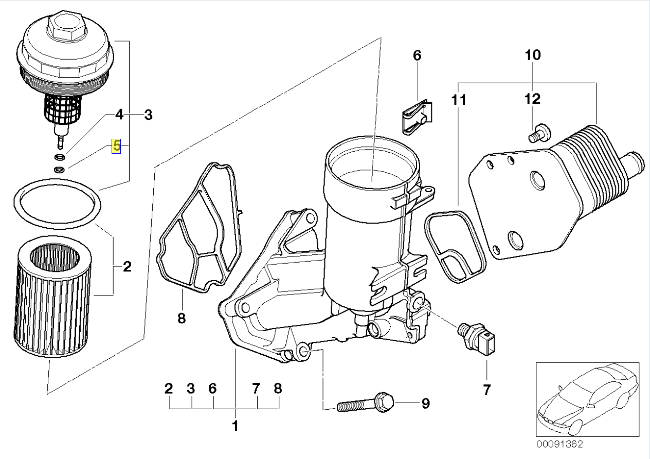 Bmw Engine Oil Filter Cover Gasket O Ring Seal