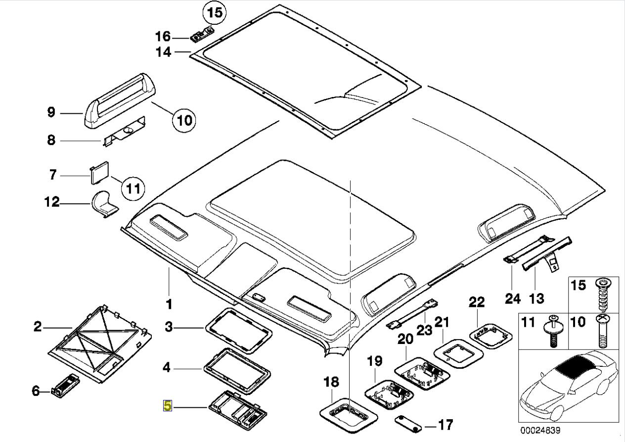 Bmw E46 E39 E38 Hands Free Phone Roof Mic Trim