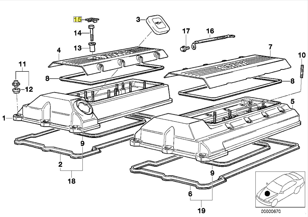 Bmw M60 M62 V8 Engine Coil Pack Cover Nut Cap