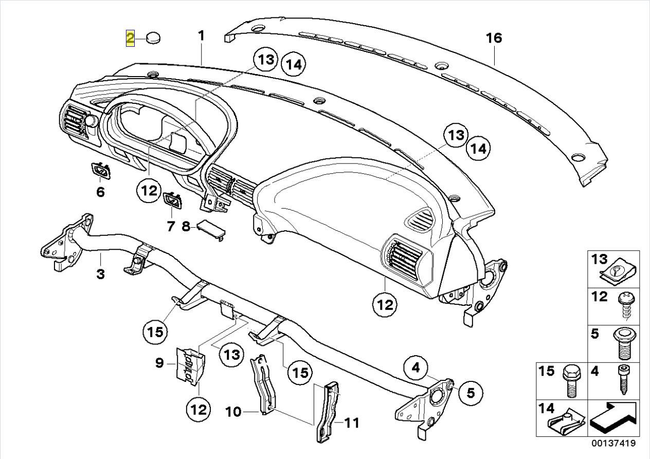 Bmw Z3 E36 Dash Board Interior Trim Cover Cap