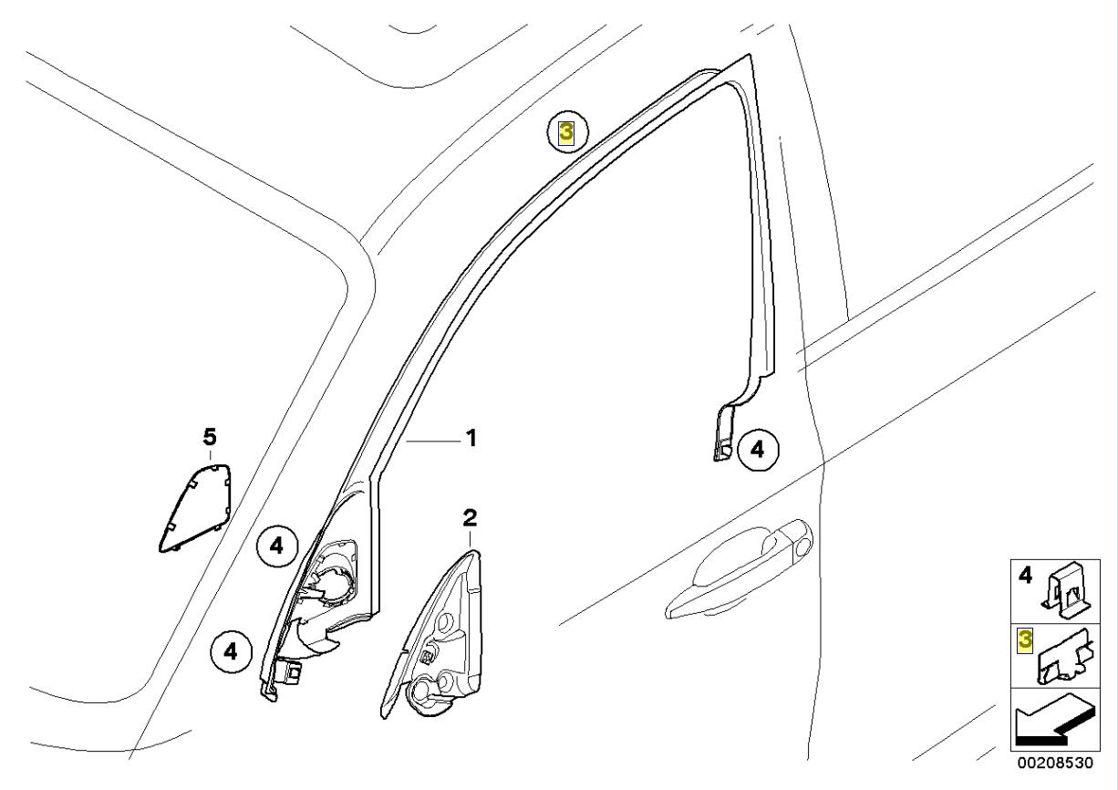 Bmw E87 Door Window Frame Cover Trim Clip Clamp