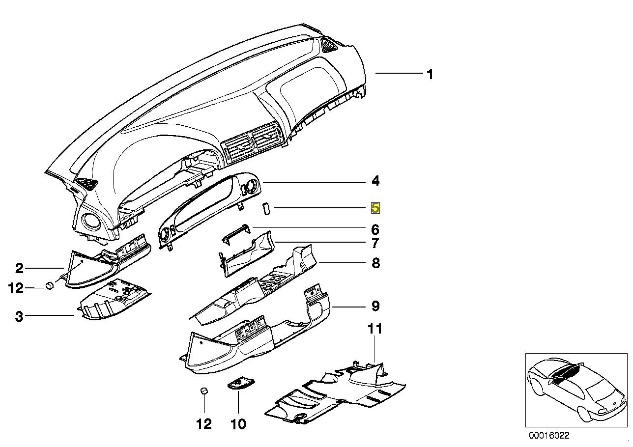 Bmw E39 Dashboard Switch Blank Trim Cover Cap