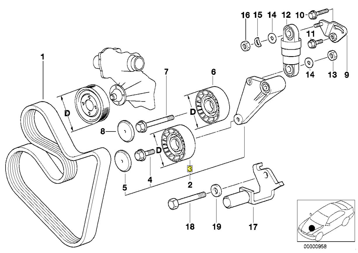 Bmw M60 M62 V8 Engine V Belt Tensioner Pulley