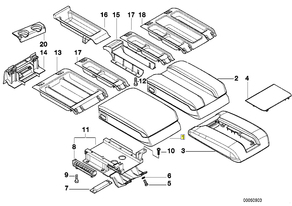 Bmw E38 Centre Console Armrest Mechanism Spring