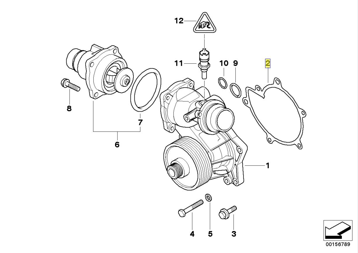 Bmw M60 M62 M67 Engine Water Pump Gasket Seal