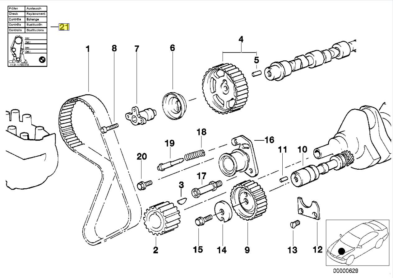 Bmw M20 M40 Engine Timing Belt Reminder Sticker