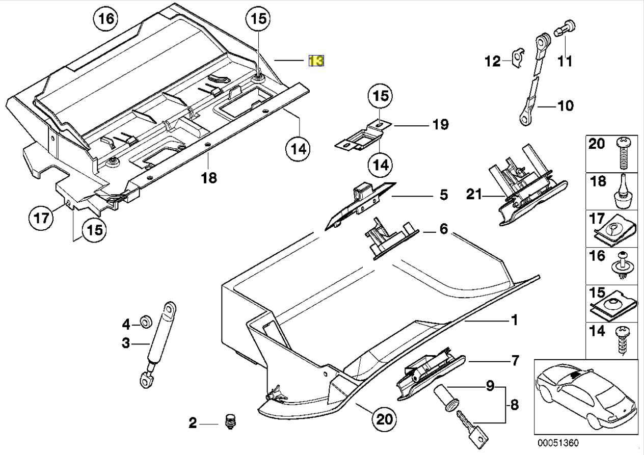 Bmw E39 Glove Fuse Box Lid Twist Lock Grommet