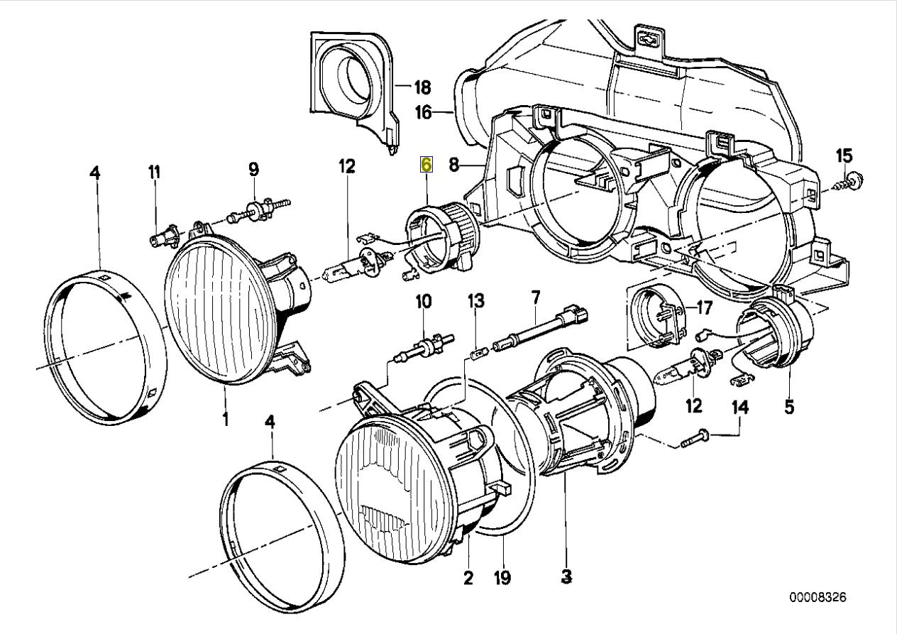Bmw E30 E24 E36 Ampoule Lampe Tete Boitier Bouchon