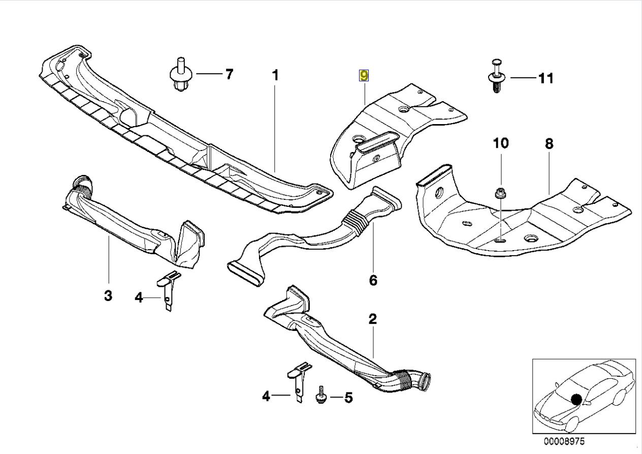 Bmw E39 E38 Air Vent Duct Channel Rear Right