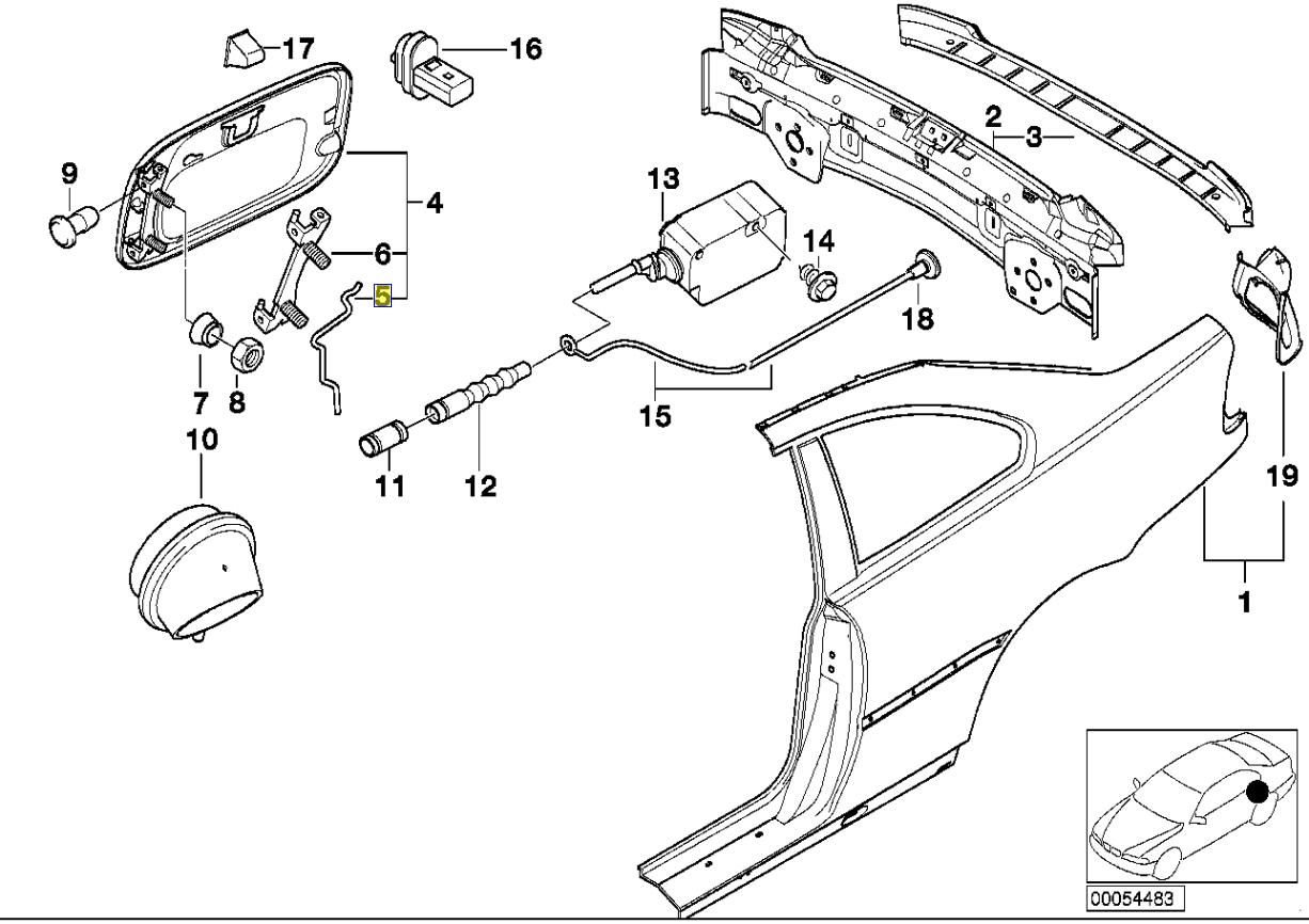 Bmw E30 E36 E46 Fuel Tank Filler Door Spring