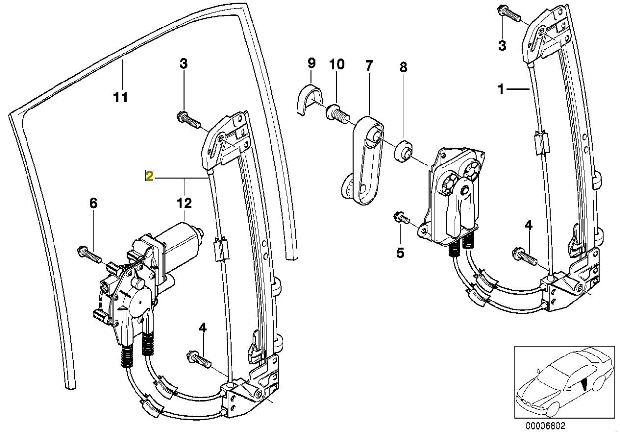 Bmw E39 Vetro Finestra Porta Posteriore Ferma Paraurti