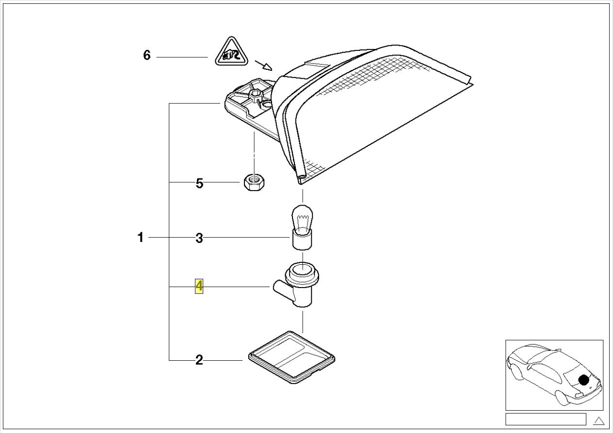 Bmw E39 3rd Brake Light Bulb Holder O Ring Seal