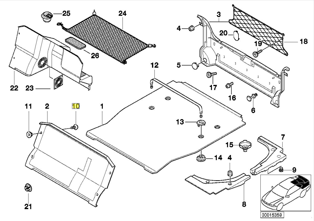 Bmw E46 E39 E38 E85 E86 Coffre Clip Bord Vis