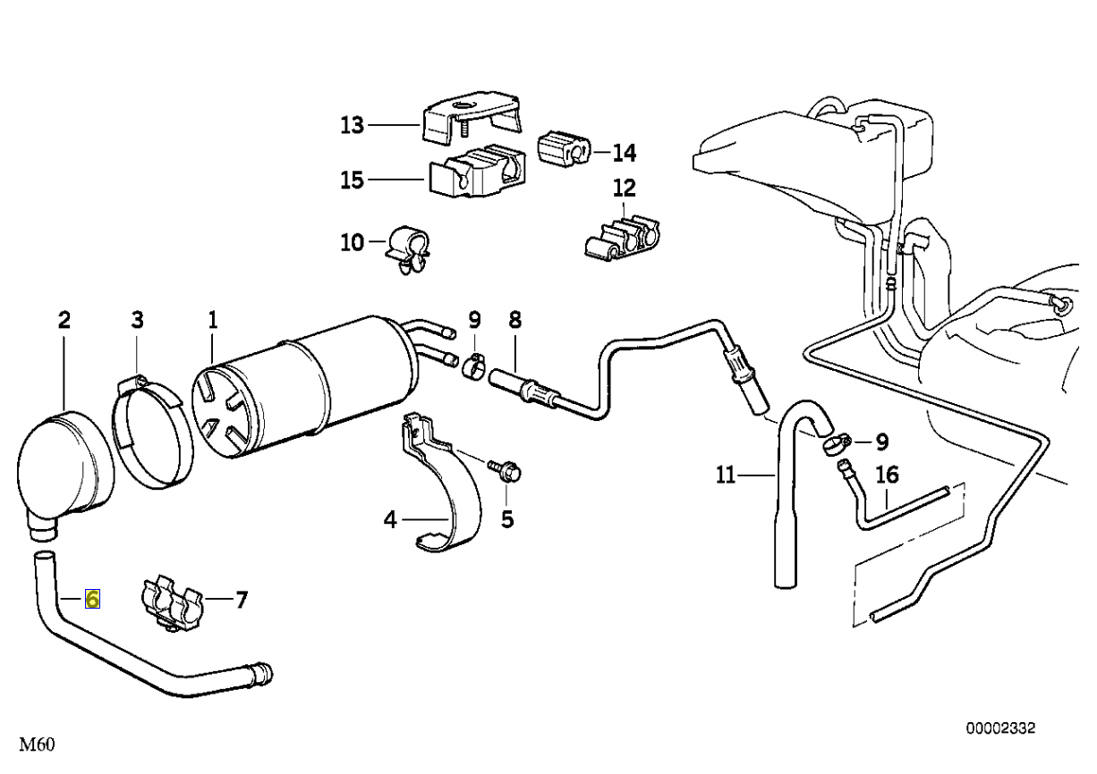 Bmw E34 E32 V8 Charcoal Canister Vent Pipe Tube