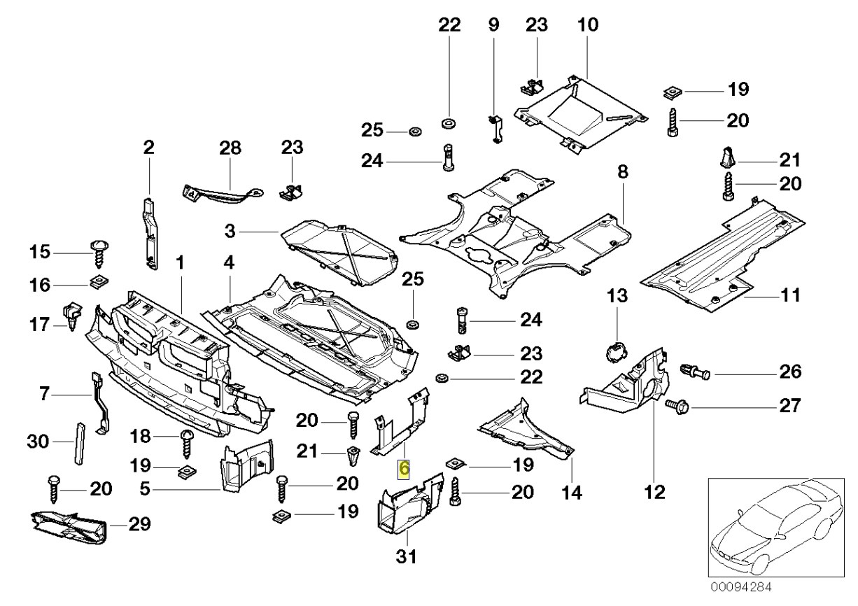 Bmw E38 Right Engine Compartment Cover Trim