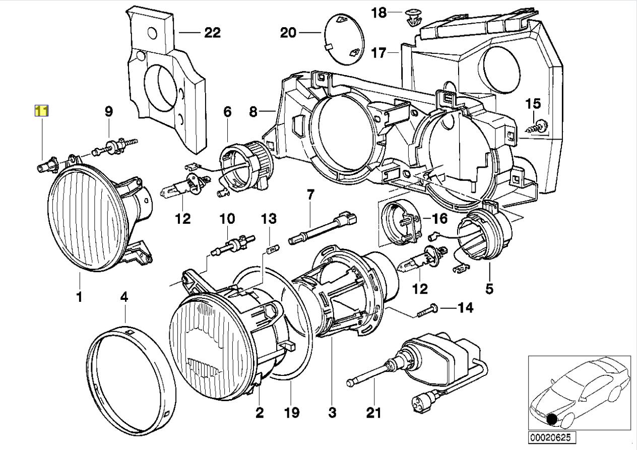 Bmw E24 E30 E34 E32 Head Light Adjuster Bush