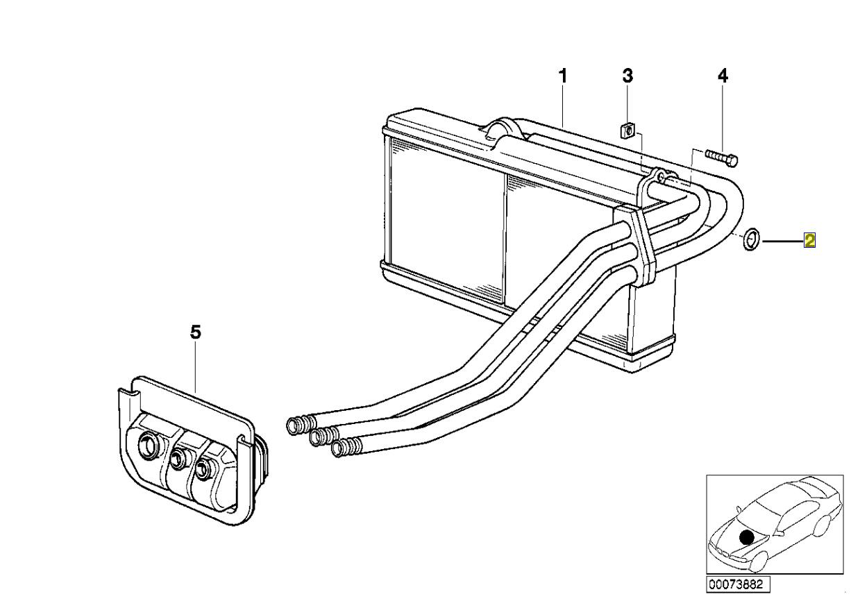 Bmw E34 E32 E36 Hvac Heater Matrix Seal O Ring