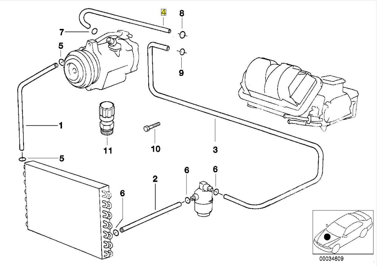 Bmw E39 Aircon A C Refrigerant Line Hose Pipe