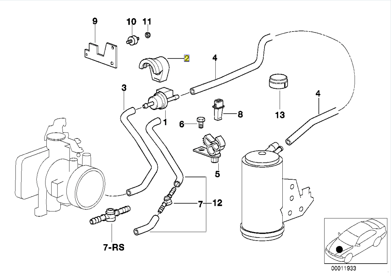 Bmw E36 Fuel Tank Breather Vent Purge Valve