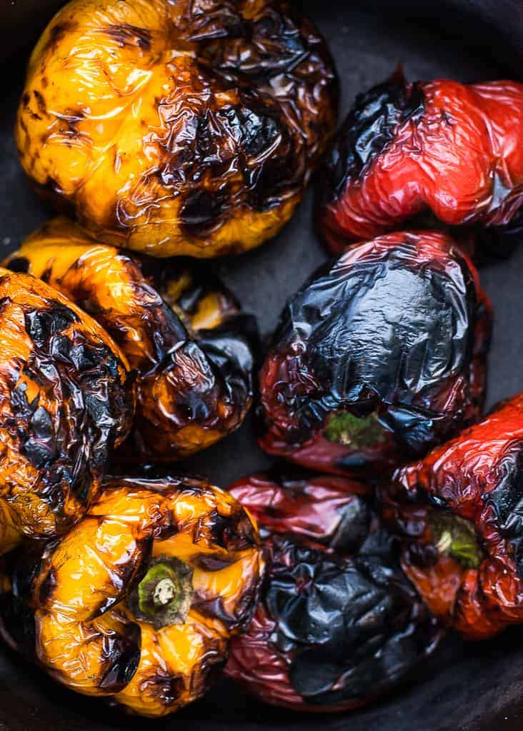 Roasted peppers for our Roasted pepper, caper and mascarpone salad - Braai salads and side dishes
