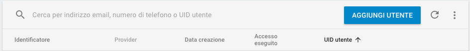 Firebase aggiungi utente