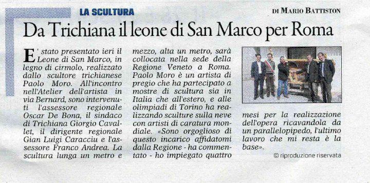 Paolo Moro Da Trichiana il leone di S.Marco per Roma