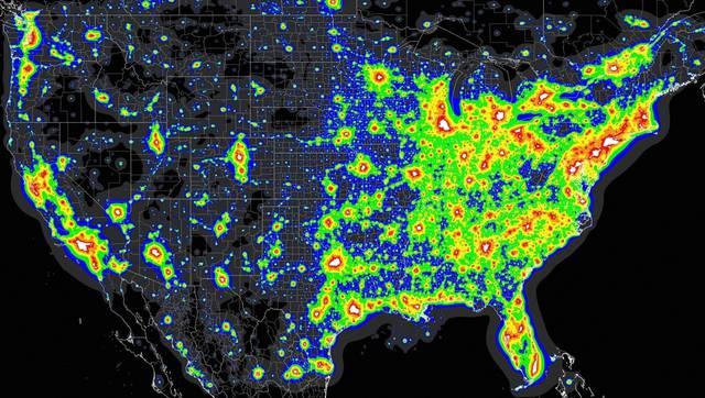 Mappa dell'inquinamenento negli Stati Uniti.