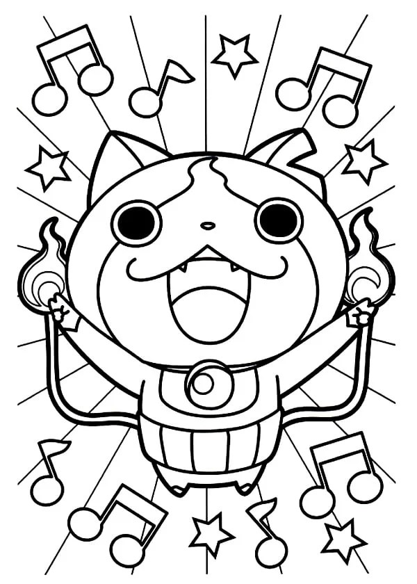 watch yo jibanyan kai coloring pages sketch coloring page