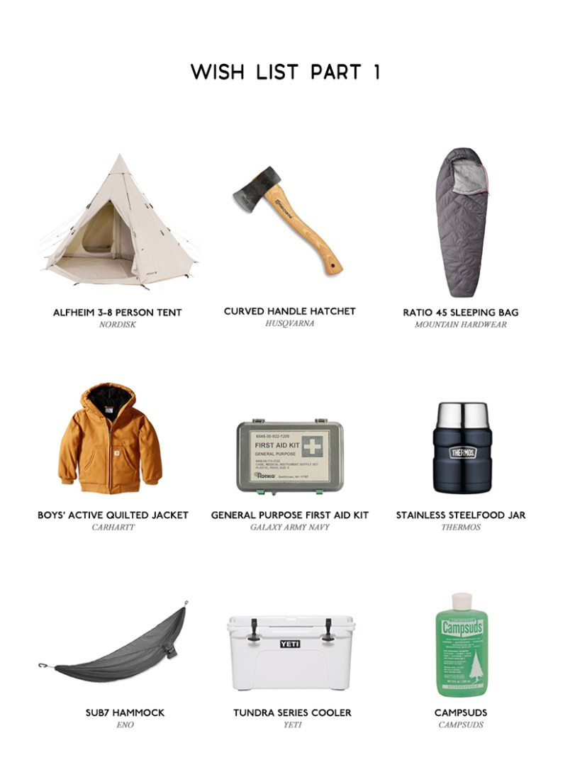 First Camping Trip Wish List
