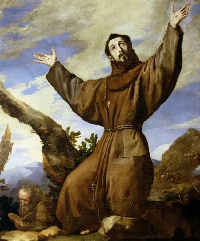 XIR86563 St. Francis of Assisi (c.1182-1220) 1642 (oil on canvas) by Ribera, Jusepe de (lo Spagnoletto) (c.1590-1652); 200x162 cm; Monasterio de El Escorial, Spain; Giraudon; Italian, out of copyright