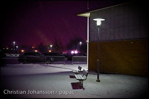 snöig lördagskväll i Kullavik
