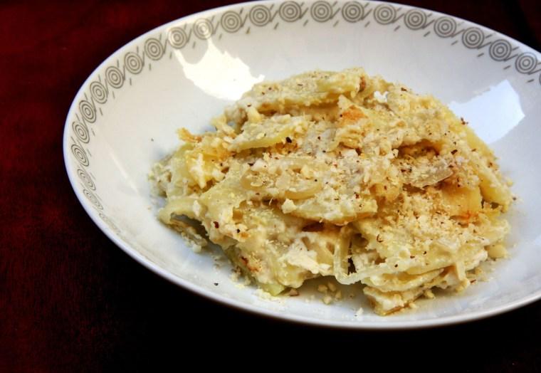 Gratin Dauphinois Vegano (batata gratinada com creme)