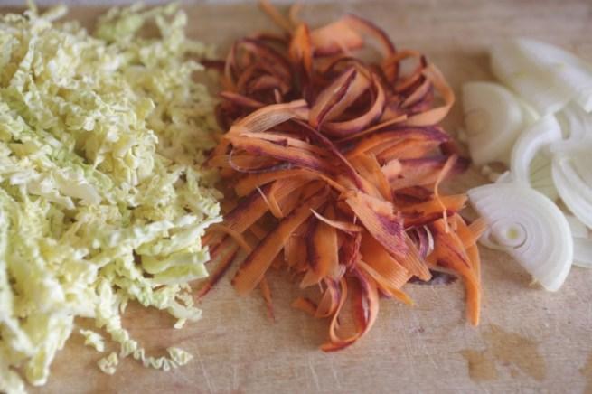 repolho, cenoura, cebola